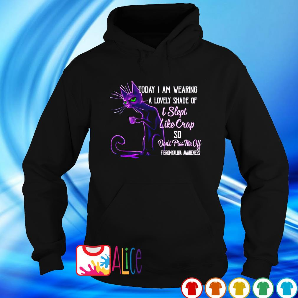 Today I am wearing a lovely shade of I slept Cat Fibromyalgia Awareness s hoodie