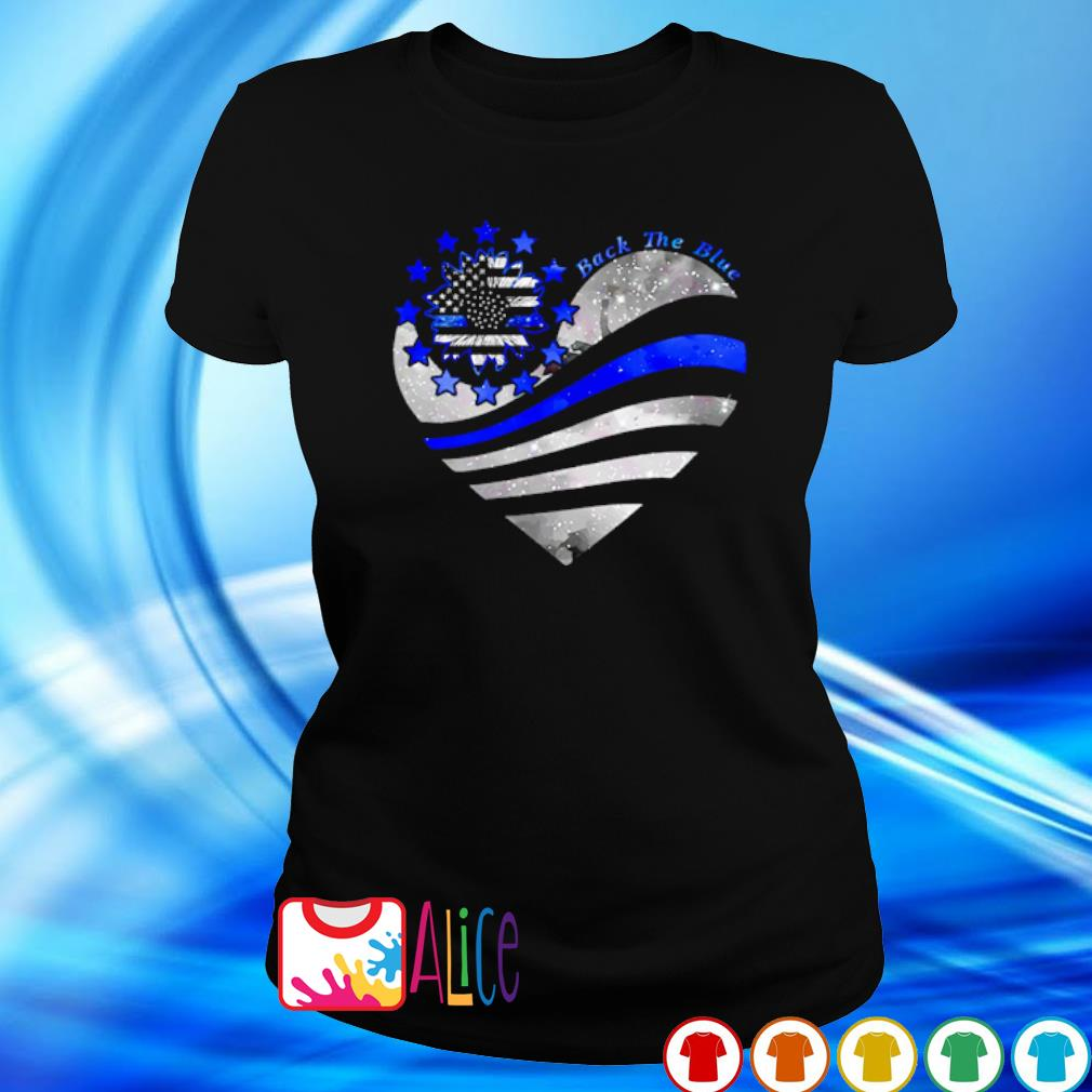 Thin Blue Line Sunflower heart back the blue s 2