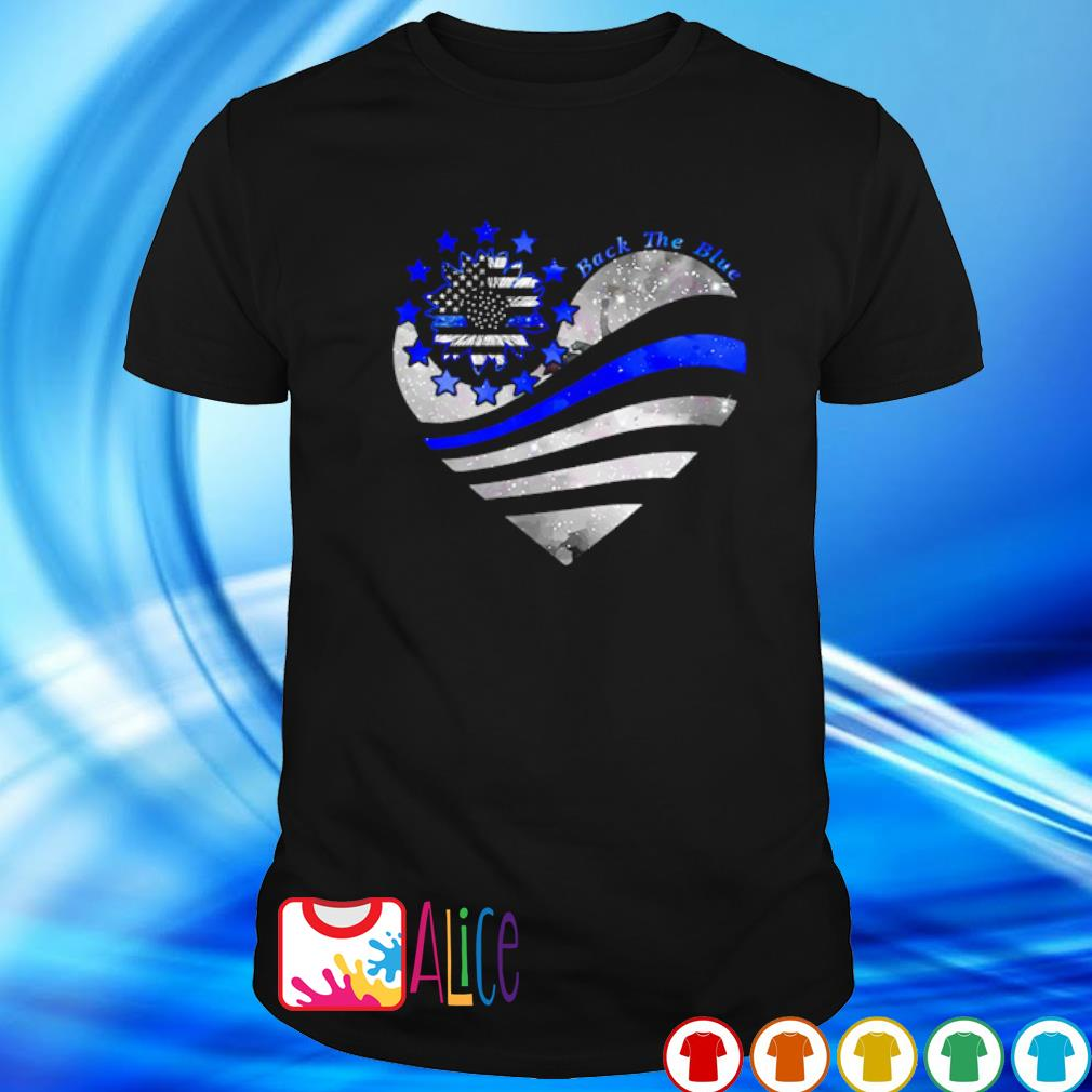 Thin Blue Line Sunflower heart back the blue shirt
