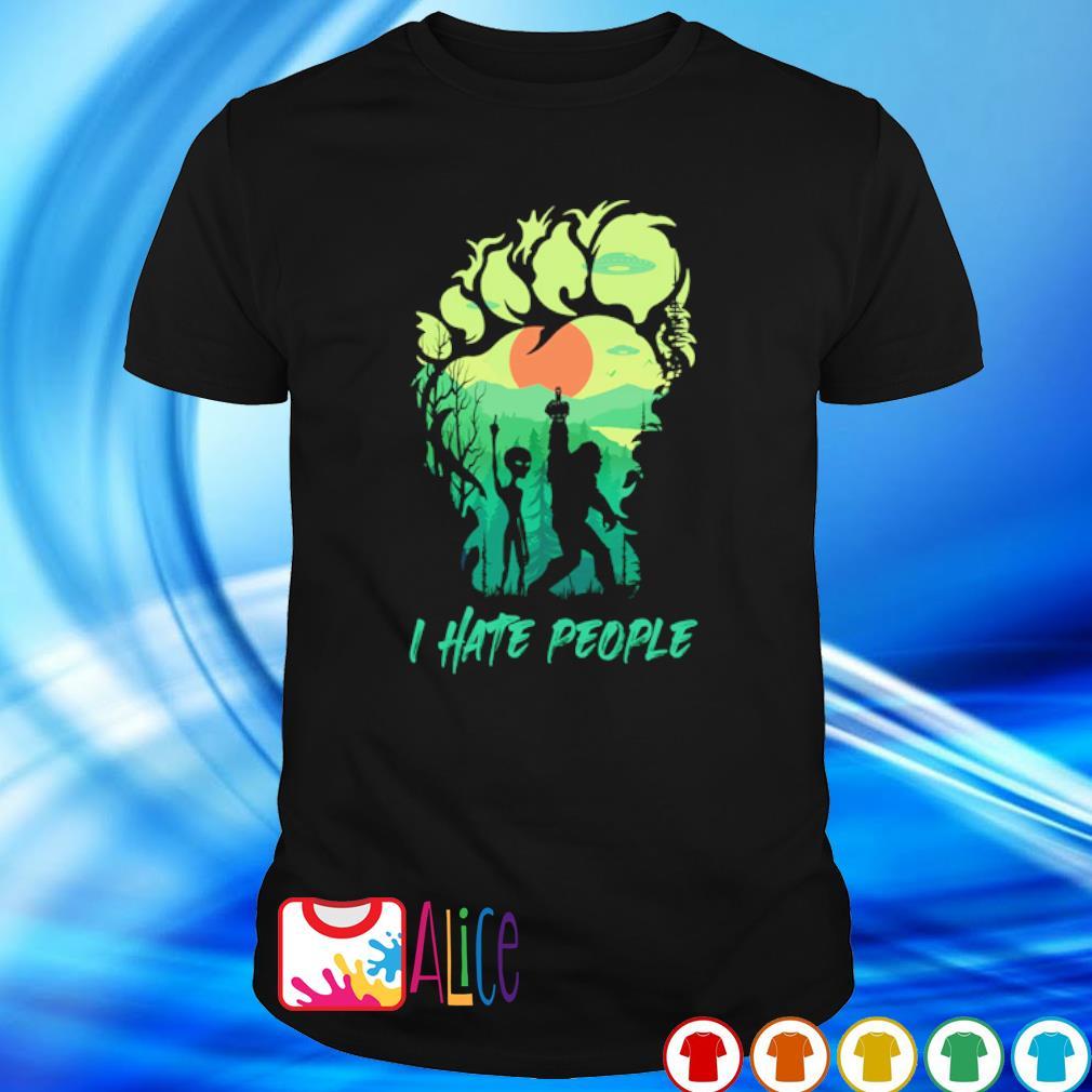 Bigfoot alien middle finger green I hate people shirt