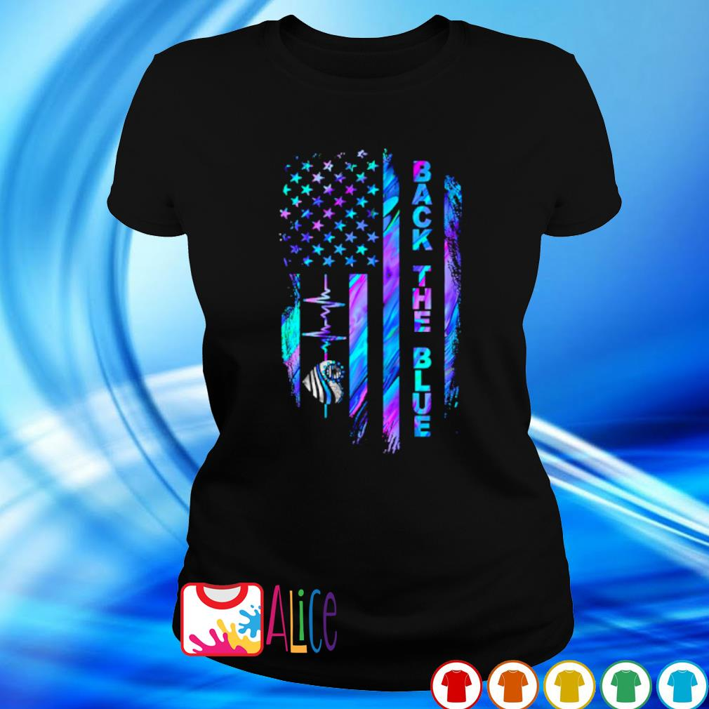 Heartbeat Thin Line Blue American flag back the blue s ladies tee