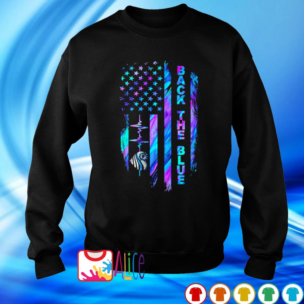 Heartbeat Thin Line Blue American flag back the blue s sweater