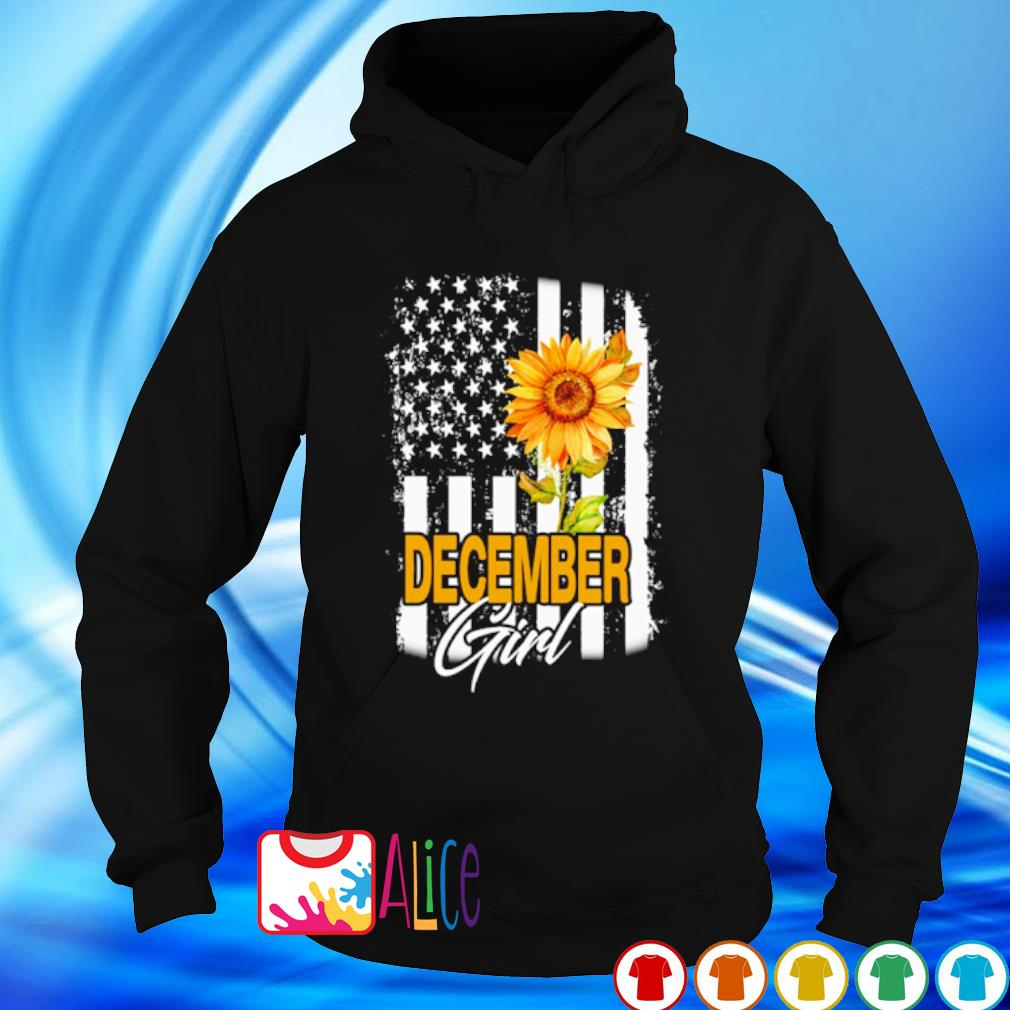 American flag sunflower December girl s hoodie