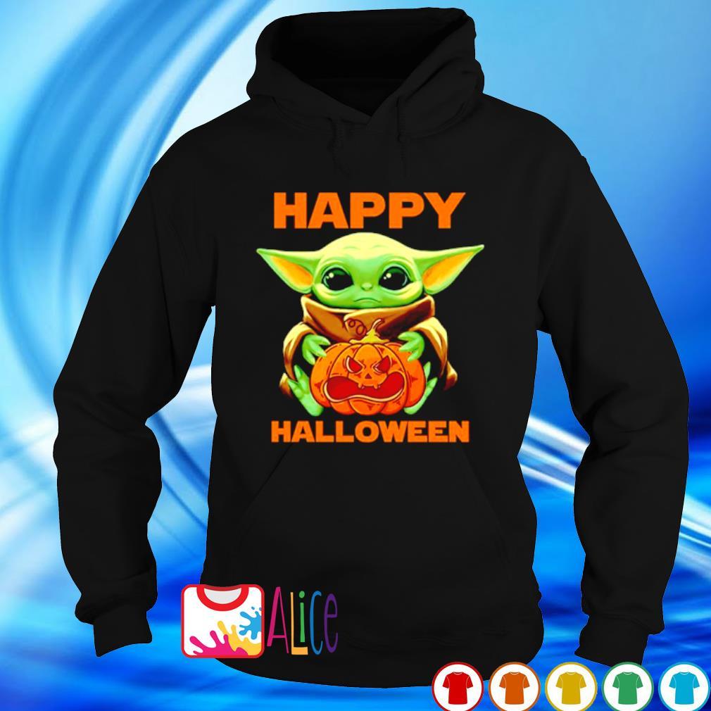 Baby Yoda hug scary pumpkin happy Halloween s hoodie