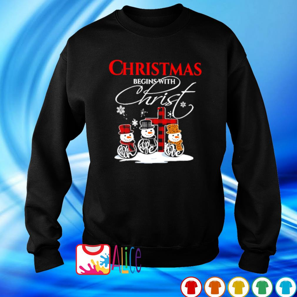Snowman Christmas begins with christ s sweater